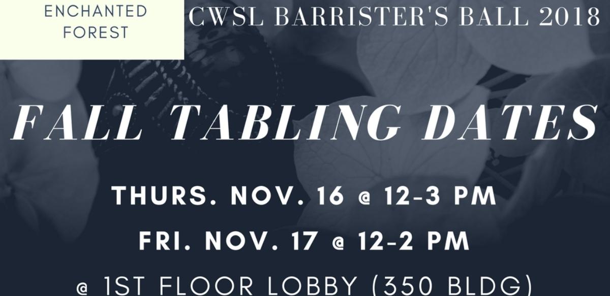 BB Tabling Dates (Fall)